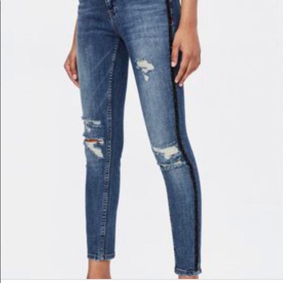 ZARA Z1975 denim blue jeans with black sparkle